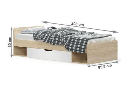 Teyo ágykeret, sonoma tölgy - fehér (1S/90)