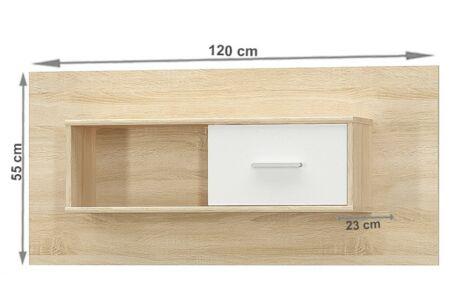 Teyo fali szekrény, sonoma tölgy - fehér