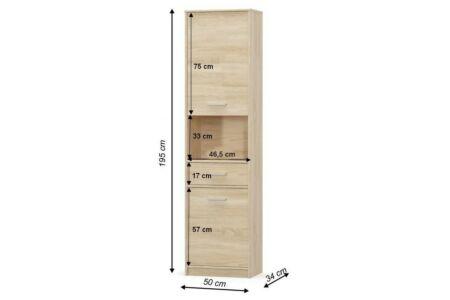 Teyo polcos szekrény, sonoma tölgy (2D1S)