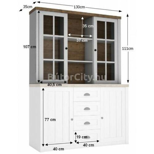 Provance felső vitrines rátét szekrény (W2D)