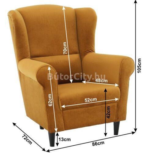 Charlot fotel mustársárga szövettel