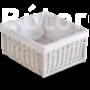 Kép 1/3 - Bélelt fehér fonott kosár Alda selyemszürke szekrényhez